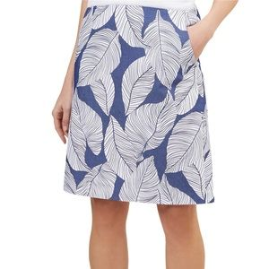 Boden straight blue skirt with leaf print